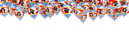 Balloons frame with flag of swaziland isolated on white. 3D illustration