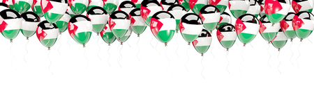 Balloons frame with flag of palestinian territory isolated on white. 3D illustration Stock Photo