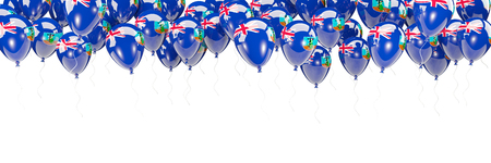 Balloons frame with flag of montserrat isolated on white. 3D illustration