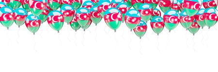 Balloons frame with flag of azerbaijan isolated on white. 3D illustration