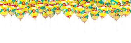 grenada: Balloons frame with flag of grenada isolated on white. 3D illustration Stock Photo