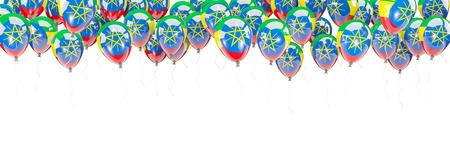 national flag ethiopia: Balloons frame with flag of ethiopia isolated on white. 3D illustration