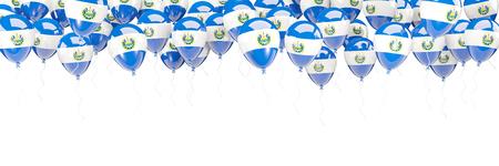 bandera de el salvador: Balloons frame with flag of el salvador isolated on white. 3D illustration