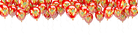 Balloons frame with flag of montenegro isolated on white. 3D illustration