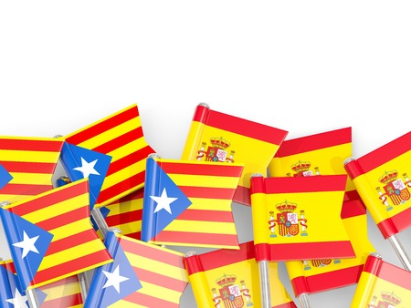 Flag pins of Catalonia and Spain isolated on white. 3D illustration Stock Photo