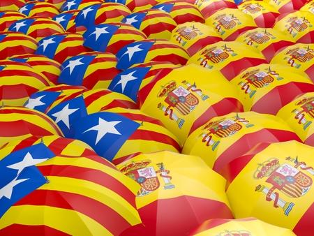 Flag of Spain and Catalonia on umbrella. 3D illustration Stock Photo