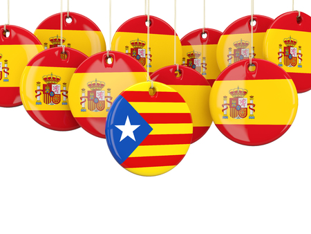 Round flags of Spain and Catalonia. 3D illustration
