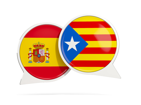 Speech bubbles with flag of spain and Catalonia. Round chat icon isolated on white, 3D illustration