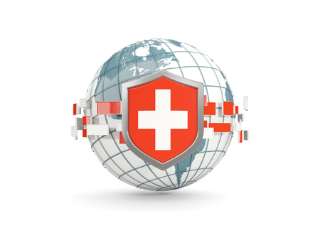Globe and shield with flag of switzerland isolated on white. 3D illustration Stock Photo