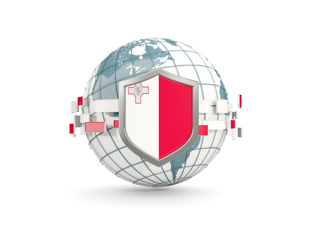 Globe and shield with flag of malta isolated on white. 3D illustration Stock Photo
