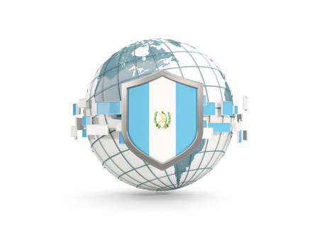 bandera de guatemala: Globe and shield with flag of guatemala isolated on white. 3D illustration