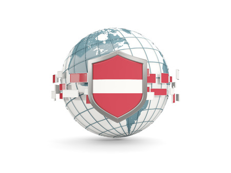 Globe and shield with flag of latvia isolated on white. 3D illustration Stock Photo