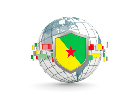 guiana: Globe and shield with flag of french guiana isolated on white. 3D illustration Stock Photo