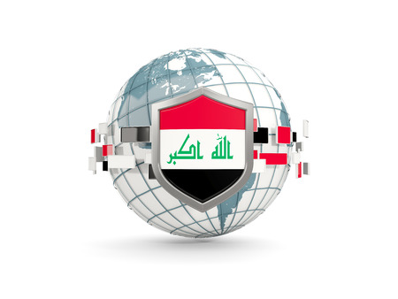 Globe and shield with flag of iraq isolated on white. 3D illustration