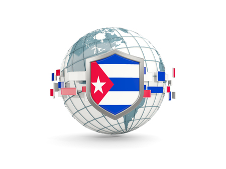 Globe and shield with flag of cuba isolated on white. 3D illustration Foto de archivo