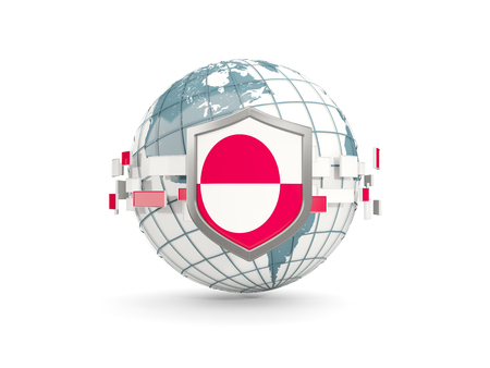 Globe and shield with flag of greenland isolated on white. 3D illustration Stock Photo