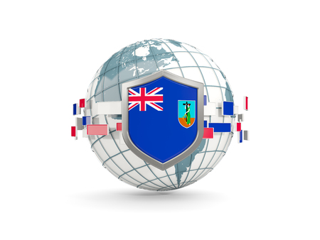 Globe and shield with flag of montserrat isolated on white. 3D illustration Stock Photo