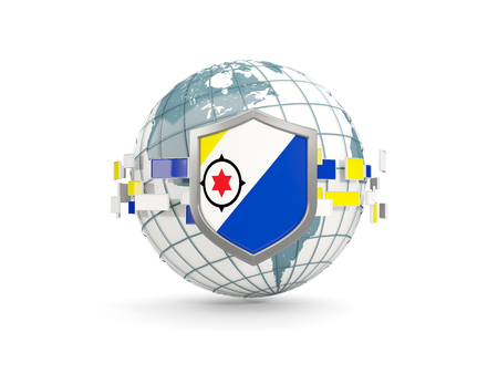 Globe and shield with flag of bonaire isolated on white. 3D illustration Stock Photo
