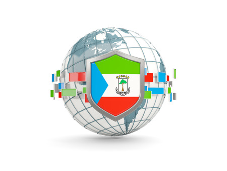 Globe and shield with flag of equatorial guinea isolated on white. 3D illustration Stock Photo