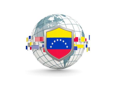 Globo y escudo con la bandera de venezuela aislado en blanco. Ilustración 3D
