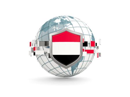 yemen: Globe and shield with flag of yemen isolated on white. 3D illustration