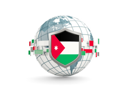 Globe and shield with flag of jordan isolated on white. 3D illustration Stock Photo