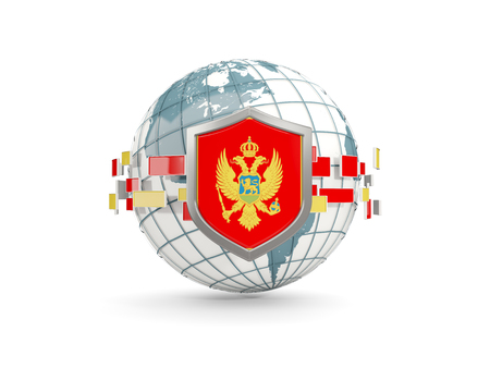 Globe and shield with flag of montenegro isolated on white. 3D illustration