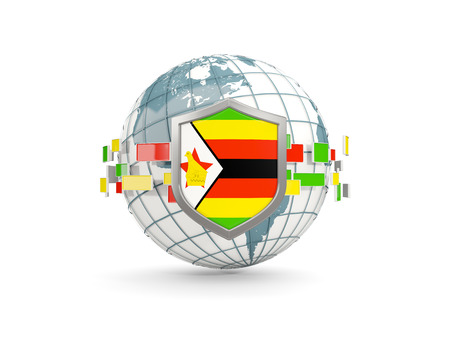 Globe and shield with flag of zimbabwe isolated on white. 3D illustration