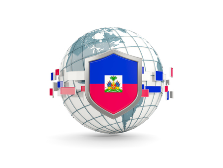 Globe and shield with flag of haiti isolated on white. 3D illustration Stock Photo