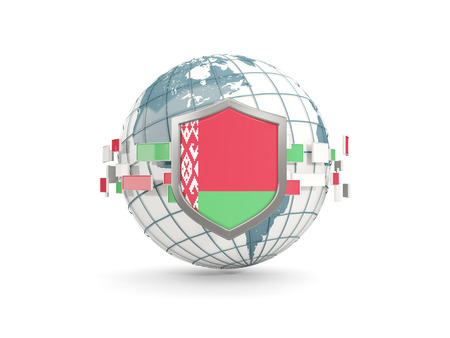 Globe and shield with flag of belarus isolated on white. 3D illustration