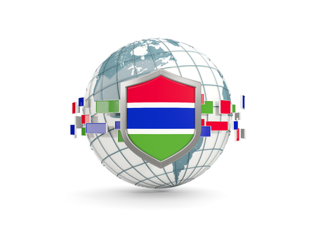 gambia: Globe and shield with flag of gambia isolated on white. 3D illustration
