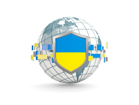 Globe and shield with flag of ukraine isolated on white. 3D illustration