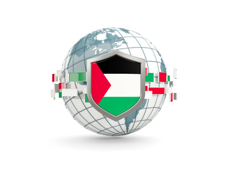 Globe and shield with flag of palestinian territory isolated on white. 3D illustration