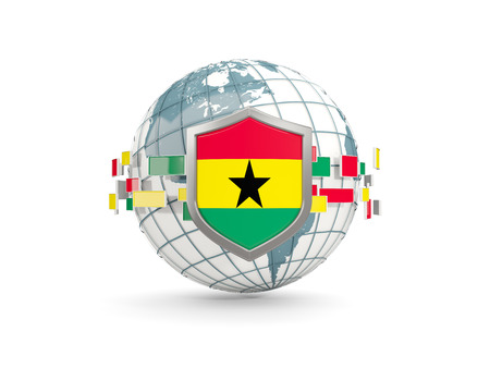 Globe and shield with flag of ghana isolated on white. 3D illustration Stock Photo