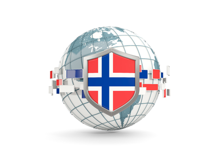Globe and shield with flag of norway isolated on white. 3D illustration