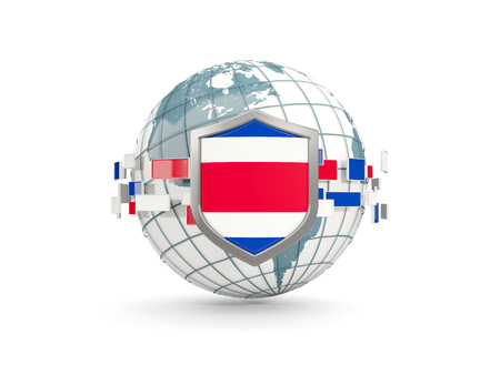 Globe and shield with flag of costa rica isolated on white. 3D illustration Stock Photo