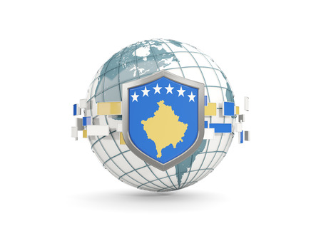 Globe and shield with flag of kosovo isolated on white. 3D illustration