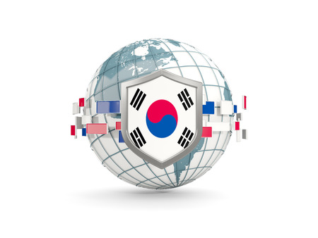 Globe and shield with flag of korea south isolated on white. 3D illustration Stock Photo