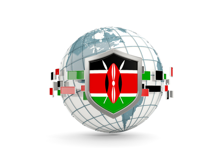 Globe and shield with flag of kenya isolated on white. 3D illustration