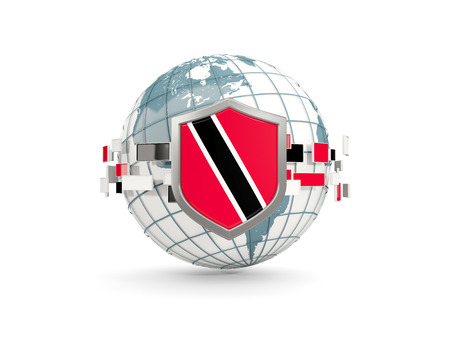 Globe and shield with flag of trinidad and tobago isolated on white. 3D illustration Stock Photo