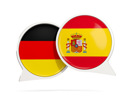 Chat bubbles of Germany and Spain isolated on white. 3D illustration Stock Photo