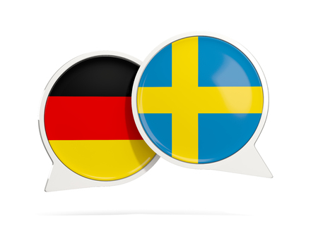 Chat bubbles of Germany and Sweden isolated on white. 3D illustration