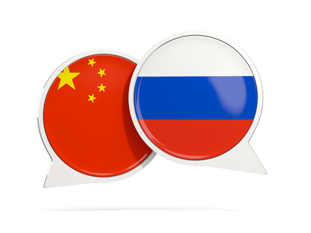 Chat bubbles of China and Russia isolated on white. 3D illustration