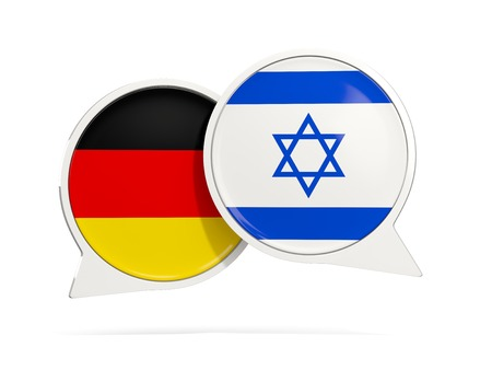 Chat bubbles of Germany and Israel isolated on white. 3D illustration Stock Photo
