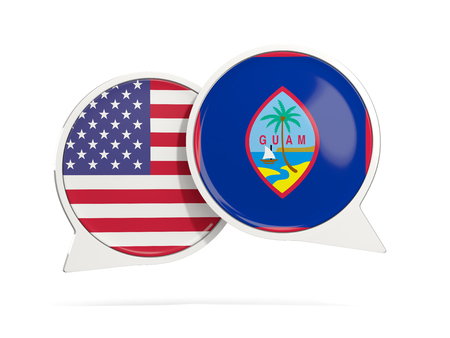 Chat bubbles of USA and Guam isolated on white. 3D illustration Stock Photo