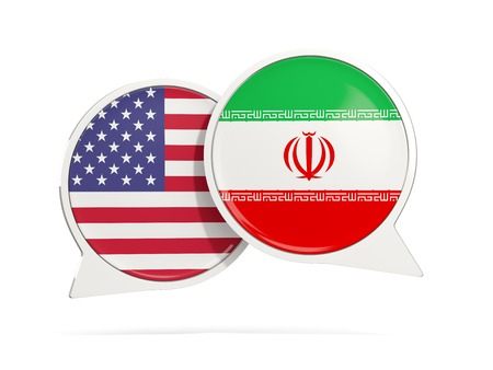 Chat bubbles of USA and Iran isolated on white. 3D illustration