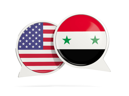 Chat bubbles of USA and Syria isolated on white. 3D illustration Stock Photo