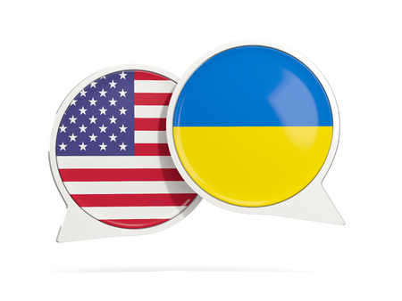 Chat bubbles of USA and Ukraine isolated on white. 3D illustration