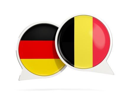 Chat bubbles of Germany and Belgium isolated on white. 3D illustration