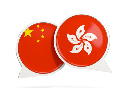 Chat bubbles of China and Hong Kong isolated on white. 3D illustration